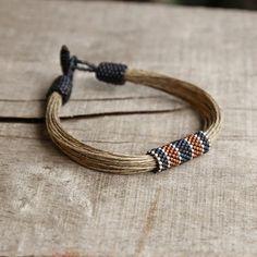 Nautical men's bracelet, art beadwork bracelet, linen bracelet for men, organic jewelry, mens beaded bracelets, marine men's jewelry: