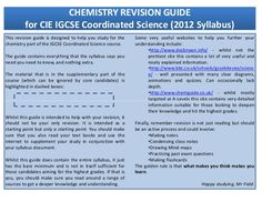 This revision guide is designed to help you study for the chemistry part of the IGCSE Coordinated Science course. The guid...