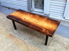 Torched Deodar Cedar Slab Coffee Table - Ambrose Woodworks