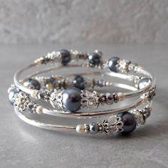 Tinnen grijze parel Memory Wire armband voor bruidsmeisjes met zilver filigraan Beaded bruids partij juwelen donker grijs bruiloft Sets Triple lus