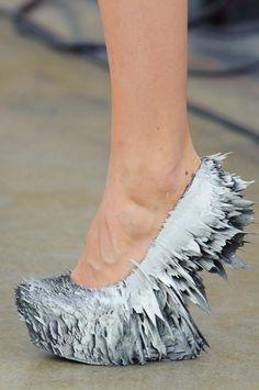 Fairy tale inspiration: Queen of ice and snow / karen cox.  High heel wedge shoes.  Iris Van Herpen Details S/S '15 #snow queen