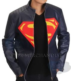 Superman Man of Steel Superhero Slim Fit Lamb Skin Leather Jacket with S Shield