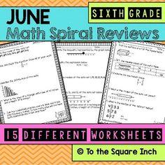 Math Spiral Review Worksheets JUNE 6th Grade Math