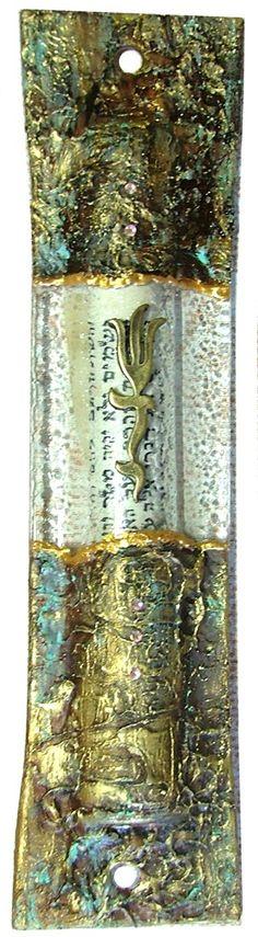 Mezuzah Case Glass scroll Israel Judaica by IrinaSmilansky on Etsy, $38.99