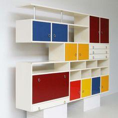 K.L. Sijmons; Unique Lacquered Pine Cabinets, 1954.
