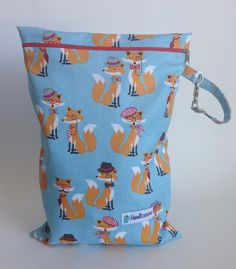 Foxy Wet Bag LE Blue | Maxwell Designs #wetbag #clothdiapers