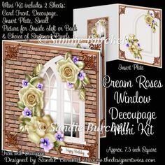 Cream Roses Window Decoupage Mini Kit : The Designer Twins ...where creativity encounters quality and value