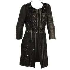 Emilio Pucci beaded lace leather long jacket or dress | From a collection of rare vintage coats and outerwear at http://www.1stdibs.com/fashion/clothing/coats-outerwear/