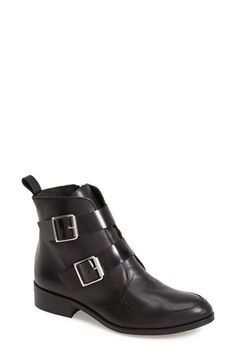 Free shipping and returns on Topshop 'Air' Double Strap Leather Ankle Boot (Women) at Nordstrom.com. Bold, clean lines define a leather ankle boot crafted with lightly grained leather and finished with smooth, glossy leather straps. Eye-catching buckles complete the polished style.