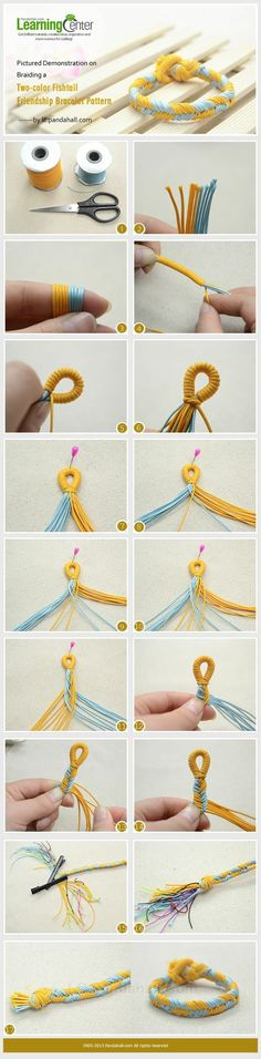 Pictured Demonstration on Braiding a Two-color Fishtail Friendship Bracelet Pattern (Cool Pictures Fun) Fishtail Friendship Bracelets, Diy Friendship Bracelets Patterns, Diy Bracelets Easy, Bracelet Crafts, Braided Bracelets, Jewelry Crafts, Handmade Jewelry, Fishtail Bracelet, Loom Bracelets