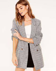 Checked Blazer, Blazers For Women, Long A Line, Boss Lady, Workwear, Coat, Womens Fashion, Sweaters, Jackets