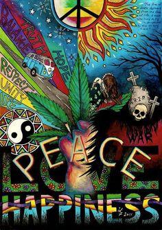 Peace, love, happiness and marijuana! Love to smoke or vape marijuana, but can't… Paz Hippie, Estilo Hippie, Hippie Peace, Hippie Love, Hippie Things, Hippie Trippy, Peace Love Happiness, Peace And Love, Marijuana Art