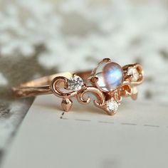 chic & popular rose gold dainty crown blue moonstone promise ring