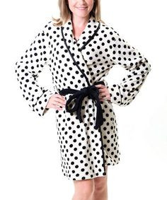 Take a look at this Ivory Polka Dot Robe - Women by Pajama Drama on #zulily today!