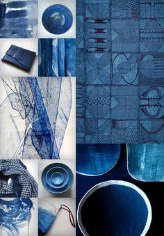 A collection of indigo finds. Including my painting Indigo I. RM