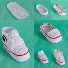 This crochet pattern is for create a miniature copy of fashionable sports shoes. Crochet baby booties will be an excellent and memorable pregnancy gift, gift for a young mother and baby - will give delight and tenderness. Digital pattern includes pdf description with photos and video tutorial with Crochet Baby Shoes, Crochet For Boys, Crochet Baby Booties, Crochet Baby Clothes Boy, Baby Clothes Patterns, Baby Patterns, Clothing Patterns, Crochet Patterns, Baby Shoes Pattern