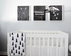 Black, white, grey modern nursery