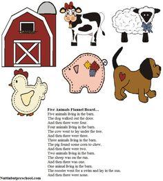Five Animals Flannel Board Nuttin' But Preschool Flannel Board Stories, Felt Board Stories, Felt Stories, Flannel Boards, Farm Activities, Animal Activities, Toddler Activities, Felt Board Patterns, Craft Patterns