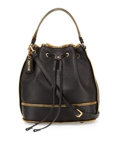 Calfskin+Bucket+Bag+w/Exposed+Zipper+Trim,+Black+by+Moschino+at+Neiman+Marcus.
