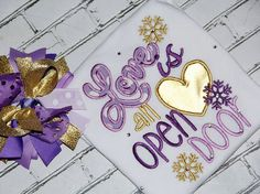 Embroidery design 5x7 Love is an open door 5X7 Embroidery saying, Valentines day, snowflake embroidery, heart embroidery, socuteappliques