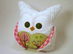 Chubby Chenille Plush Owl  Riley Blake fabric by aprilfoss on Etsy, $35.00