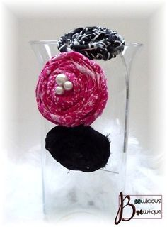 Hot pink and black rolled rosette fabric flower headband with pearls