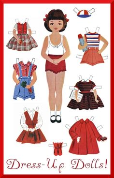 Retro paper dolls (can be made in to magnetic paper dolls!)