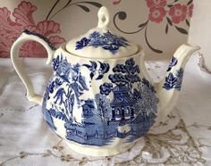 Sadler Teapot Willow Pattern  Blue and by florenceforeverfinds