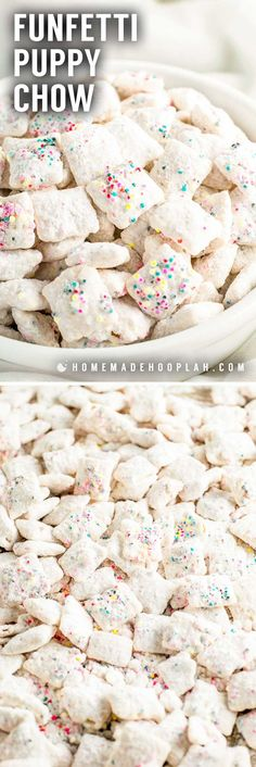 This classic sweet snack gets a festive makeover with this funfetti puppy chow! Chex cereal is coated in white candy melts, colorful sprinkles, and dusted with a sweetened white cake mix. Perfect for snacking or gifting! Puppy Chow Recipes, Chex Mix Recipes, Snack Recipes, Recipe Puppy, Recipes Dinner, Potato Recipes, Pasta Recipes, Crockpot Recipes, Soup Recipes