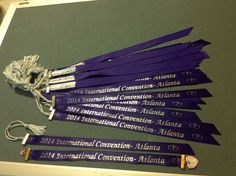 The Ribbon and tassels ordered from the internet.  We put them together with a ribbon crimp and added a 'homemade with love' on the back.  Very Beautiful.  Atlanta Georgia International Convention.