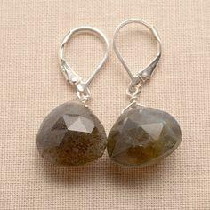 labradorite earrings / blue green gray earrings / gemstone drop earrings/ sterling silver leverback earring/ gemstone earrings/ holiday gift on Etsy, $38.00