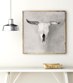 """Cow skull decor modern southwest art printable bull horns print. . Pinterest community saves 20% with discount coupon code: PIN20. Please repin, favorite, or click """"Visit"""" to see more affordable art printables."""