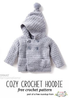 Crochet Baby Playtime Essentials Patterns : Crochet this cozy crochet hoodie jacket sweater for kids from my baby playtime essentials free pattern roundup! Crochet Baby Jacket, Crochet Baby Sweaters, Crochet Baby Blanket Beginner, Crochet Hoodie, Baby Knitting, Crochet Baby Cardigan Free Pattern, Crochet Baby Clothes Boy, Baby Boy Sweater, Baby Sweater Patterns