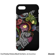 Cool Paisley Pattern Black Cat Savvy iPhone 7 Case