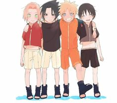 Sakura, Sasuke, Naruto and  Sai