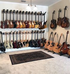 Guitar Hanger - Easily removable and repositionable. Rotates for hanging guitars straight on or at an angle. Locking strap secures your guitar safely. Home Music Rooms, Music Studio Room, Audio Studio, Guitar Storage, Guitar Display, Guitar Hanger, Guitar Rack, Music Man Cave, Recording Studio Design