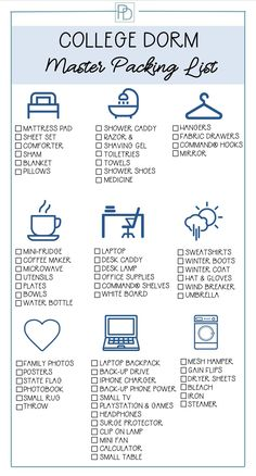 College dorm master packing list to help you prepare for and buy what is needed for a freshman's door room. Organized by category and printable to take with you shopping for dorm room supplies. dorm room decor What You Need for College Dorm Life College Dorm List, College Dorm Checklist, College Dorm Essentials, College Dorm Rooms, College Humor, College Life, College Dorm Necessities, Dorm Room List, College Board
