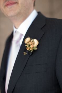 Golden boutonniere | Photography: Cristina G Photography - cristinagphoto.com  Read More: http://www.stylemepretty.com/little-black-book-blog/2014/05/29/chic-spring-brunch-wedding-in-chicago/