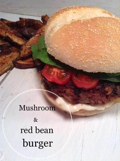 MUSHROOM & RED BEAN BURGER It is hearthy, the mushrooms bring a meatiness, and the walnuts add a nice crunch. DELICIOUS!! |Simply vegelicious