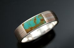 Mokumé Gane Spider Web Turquoise Rect. Inlay Ring