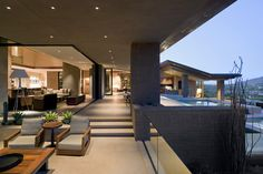 Nice Transition of Spaces, Multilevel Indoors naturally transitioning to single level outdoors. Separation of space by  depressed and elevated planes. Strong circulation along back wall to multiple outdoor areas.