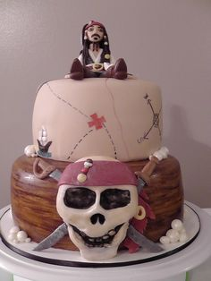 I borrowed the cake design from someone here on CC. I'm sorry, but I can't remember who to give them credit! I made a fondant Jack Sparrow for the top of the cake
