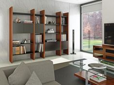 Shop BDI Semblance Four-Section Storage Natural Stained Cherry, start with one of our preconfigured packages or be creative and start from scratch. Modular Shelving, Open Shelving, Adjustable Shelving, Shelves, Home Theater Furniture, Furniture Sets, Contemporary Office, Contemporary Furniture, Modern