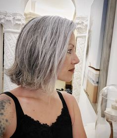 Grey Hair For Pale Skin, Grey White Hair, Silver Fox Hair, Silver Foxes, Silver Cat, Long Curly Hair, Curly Hair Styles, Hair Thickening Treatment, Hairdos For Older Women
