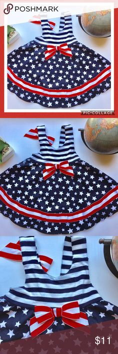 New listing! I ❤️ the USA Super cute all American Stars and Stripes baby girl dress; daughter wore once for July 4th; great condition; straps are adjustable and accented with a bow; front bow accent elastic band in back Dresses