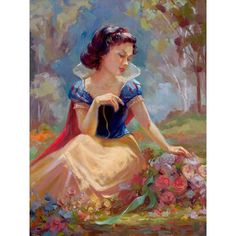 Snow White and the Seven Dwarfs Gathering Flowers Snow White and the... ($450) ❤ liked on Polyvore featuring home and home decor