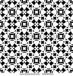 Vector monochrome seamless pattern. Abstract ornamental texture, repeat geometric tiles. Black & white endless background, specular visual effect. Design element for prints, decoration, digital, web