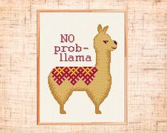 Llama cross stitch pattern Modern cross stitch Alpaca counted cross stitch chart Animal cross stitch Cute No prob-llama Instant download PDF