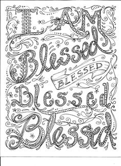 Instant Download Coloring Page Blessed by ChubbyMermaid on Etsy, $1.99
