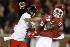 Texas Tech's Justin Stockton (4) breaks up a pass intended for Oklahoma's CeeDee Lamb (9) during a college football game between the Oklahoma Sooners (OU) and the University of Texas Tech Red Raiders (TTU) at Gaylord Family-Oklahoma Memorial Stadium in Norman, Okla., Saturday, Oct. 28, 2017. Photo by Bryan Terry, The Oklahoman